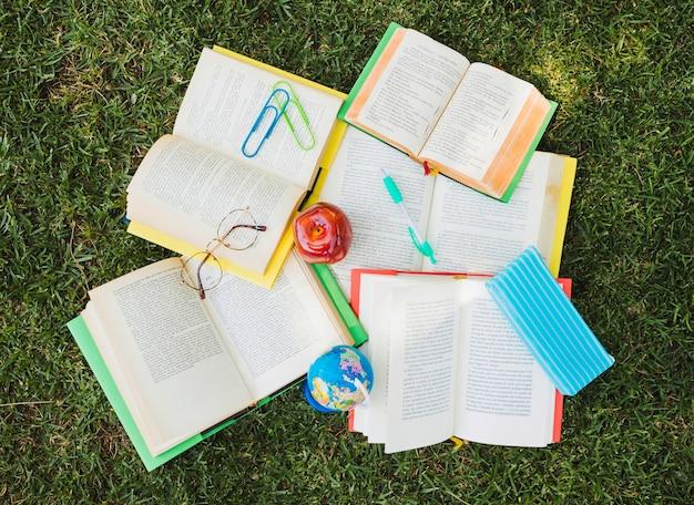 Mucchio di libri di testo con elementi decorativi nel caos sul prato verde Foto Gratuite
