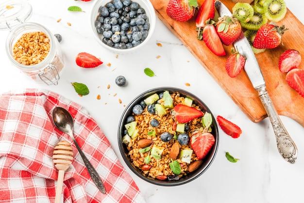 Muesli con noci, frutti di bosco freschi e frutta Foto Premium
