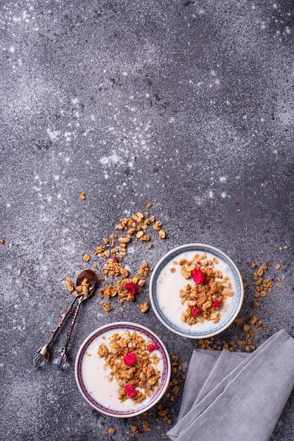 Muesli con yogurt e lamponi secchi Foto Premium