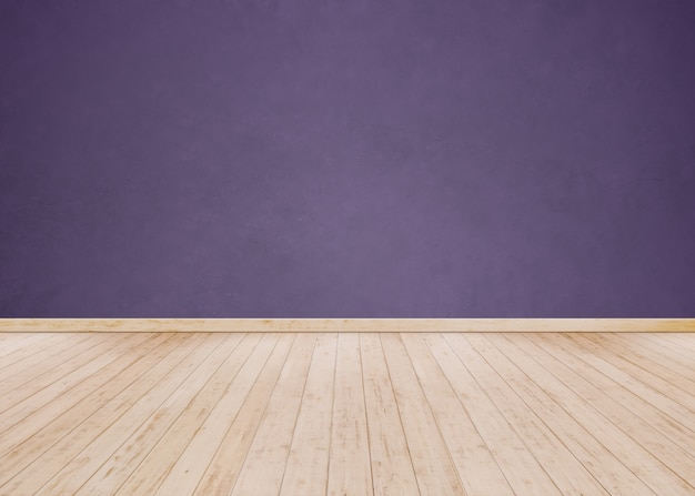 Muro di cemento viola con pavimento in legno Foto Premium