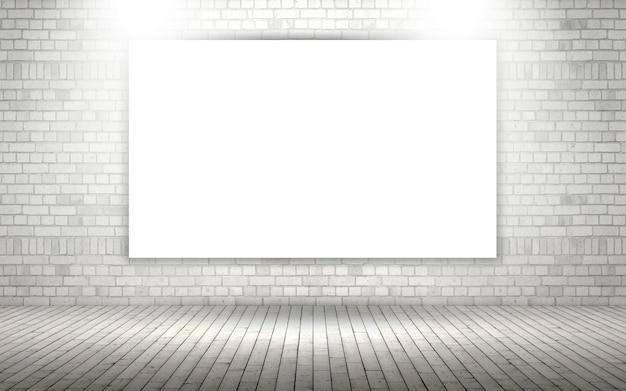 Muro di mattoni a vista 3d con tela bianca o cornice per foto Foto Premium