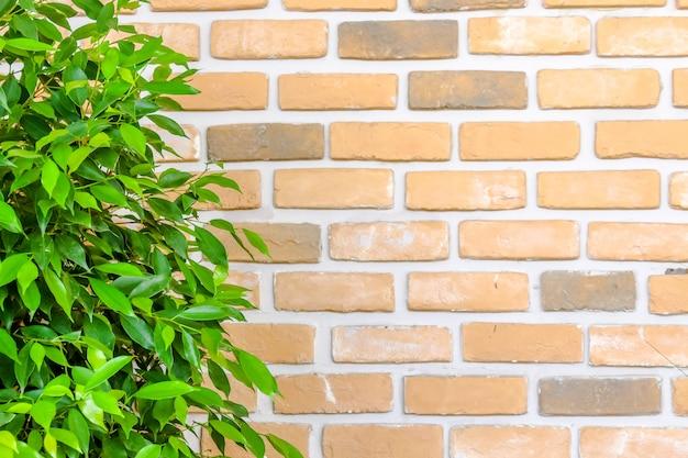 Muro di mattoni arancione decorare con foglia verde Foto Premium