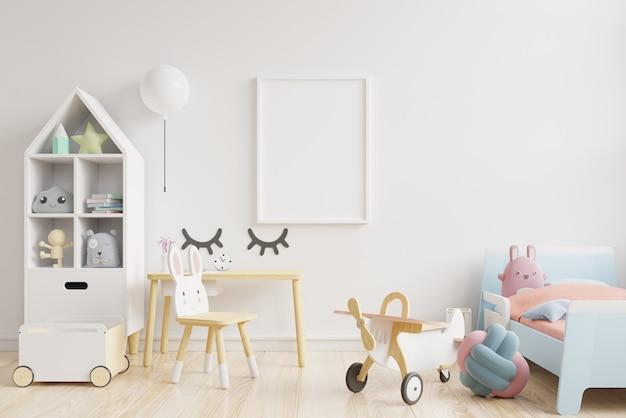 Muro nella stanza dei bambini in bianco sullo sfondo del muro. Foto Premium