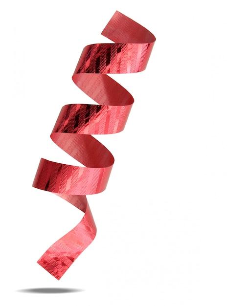 Nastro rosso isolato su sfondo bianco con tracciato di ritaglio Foto Premium
