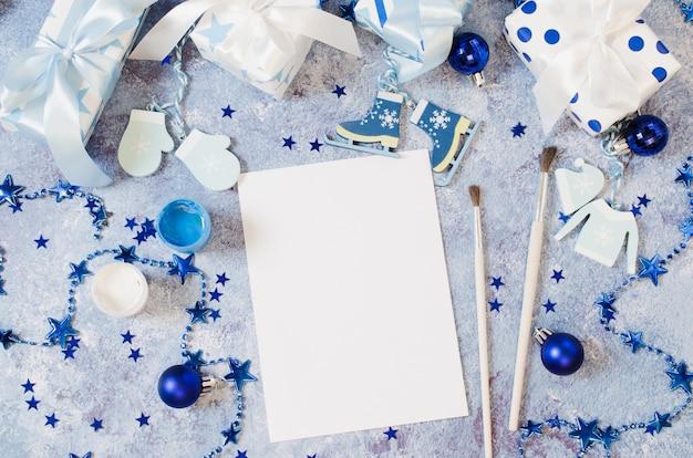 Natale per auguri o lettera a babbo natale in colore blu. Foto Premium