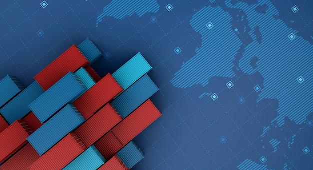 Nave da carico del contenitore nelle attività di esportazione di importazione logistiche sulla mappa del mondo digitale Foto Premium