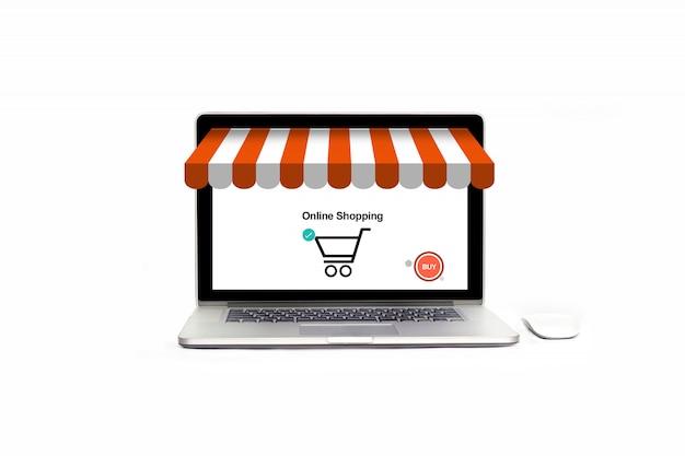 Negozio di laptop aperto con icona di acquisto, pagamento e marketing aziendale. Foto Premium