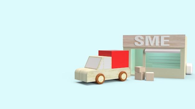 Negozio e scatola per il trasporto di rendering 3d per il concetto di sme. Foto Premium