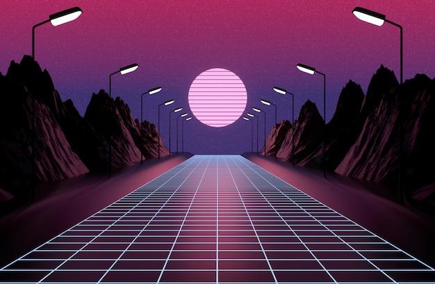 Neon anni '80 in stile, retro gioco vintage paesaggio, luci e montagne rendering 3d. Foto Premium