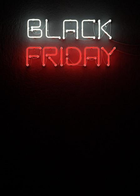 Neon nero di vendita di venerdì con la rappresentazione dello spazio 3d della copia Foto Premium