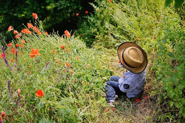 Neonato in un cappello su una priorità bassa del campo del papavero Foto Premium