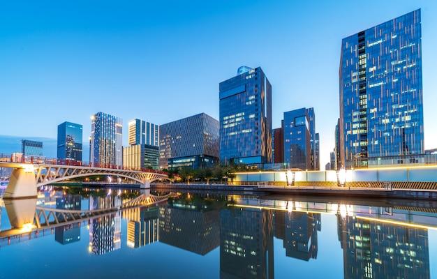 Ninbo city, cina, vista notturna Foto Premium