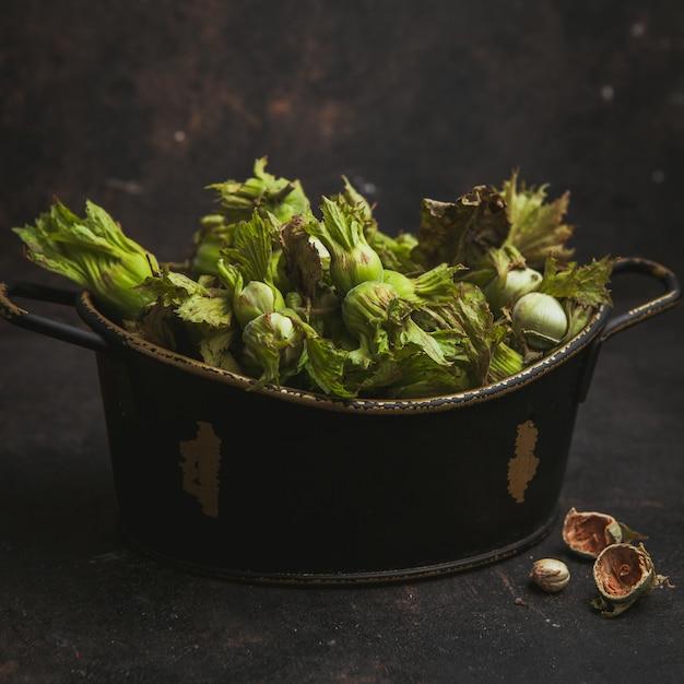 Nocciole verdi fresche in una pentola su un marrone scuro. vista laterale. Foto Gratuite