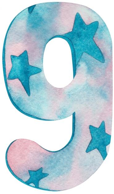 Numero dell'acquerello nove con colori e stelle rosa e blu. Foto Premium