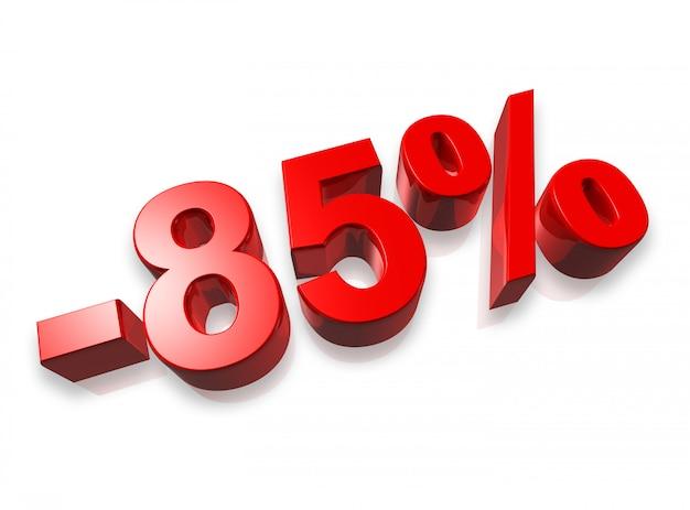 Numero di ottantacinque per cento 3d isolato su bianco Foto Premium