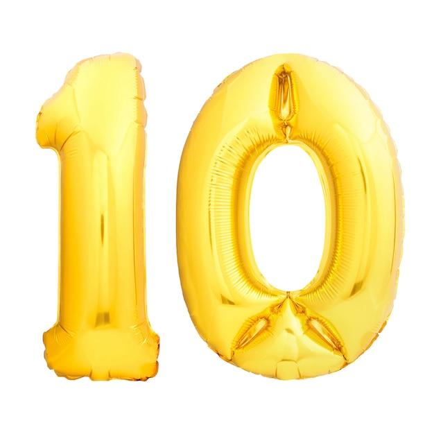 Numero dorato 10 dieci fatto del pallone gonfiabile isolato su bianco Foto Premium