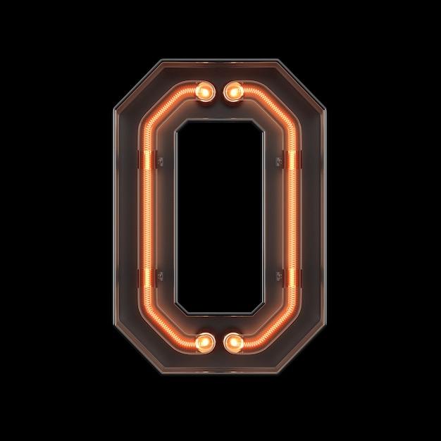 Numero luce al neon 0 Foto Premium