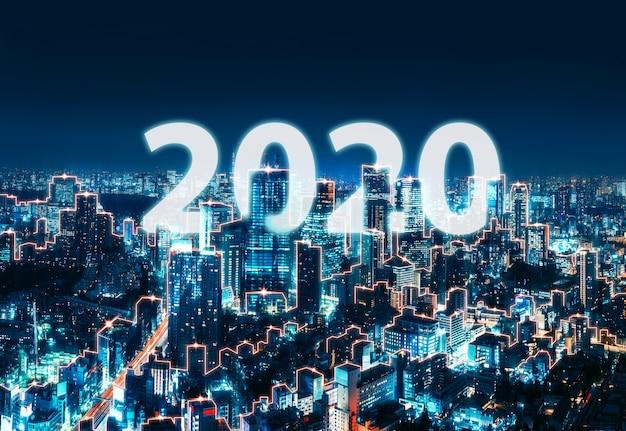 Nuovo anno 2020 rete e connessione città del giappone Foto Premium