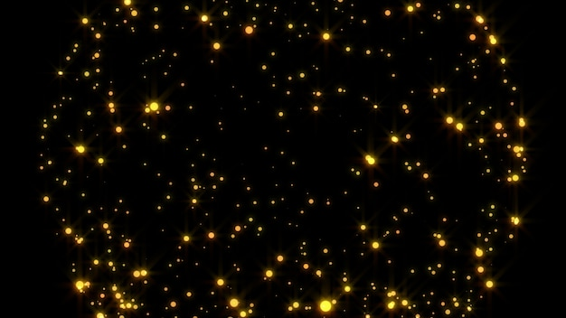 Nuovo anno 2020. sfondo bokeh. luci astratte. sfondo di buon natale. luce glitter oro. particelle sfocati. isolato su nero overlay. colore dorato Foto Premium