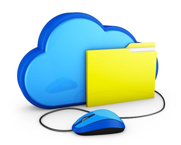 Nuvola blu e cartella gialla con il mouse del computer Foto Premium