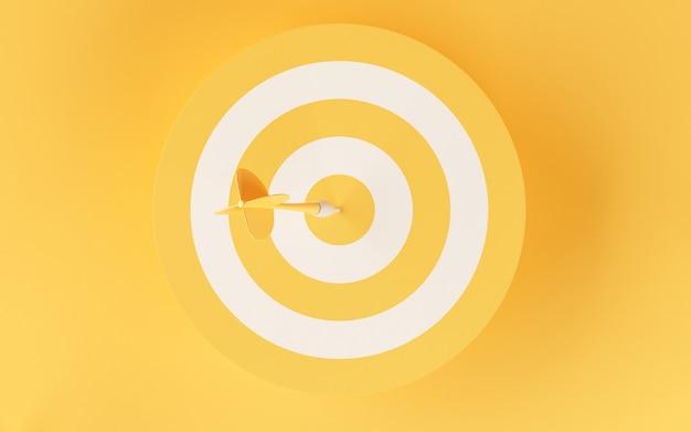 Obiettivo 3d su sfondo giallo. Foto Premium