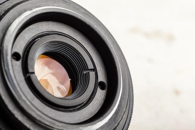 Obiettivo della fotocamera da vicino Foto Premium