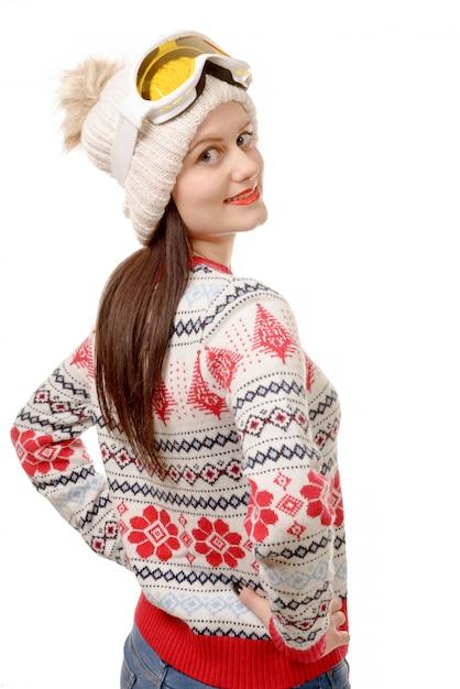 Occhiali di protezione da portare della bella donna in inverno Foto Premium