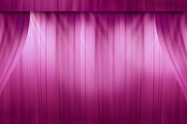 Offuscata tenda rossa sul palco nel teatro prima dello spettacolo Foto Premium