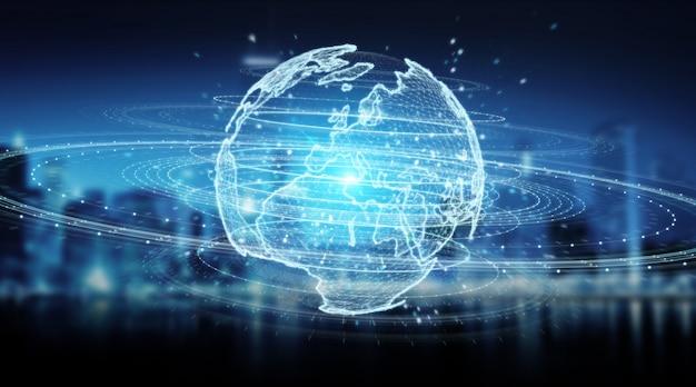 Ologramma della rete del globo con la rappresentazione della mappa 3d dell'europa Foto Premium