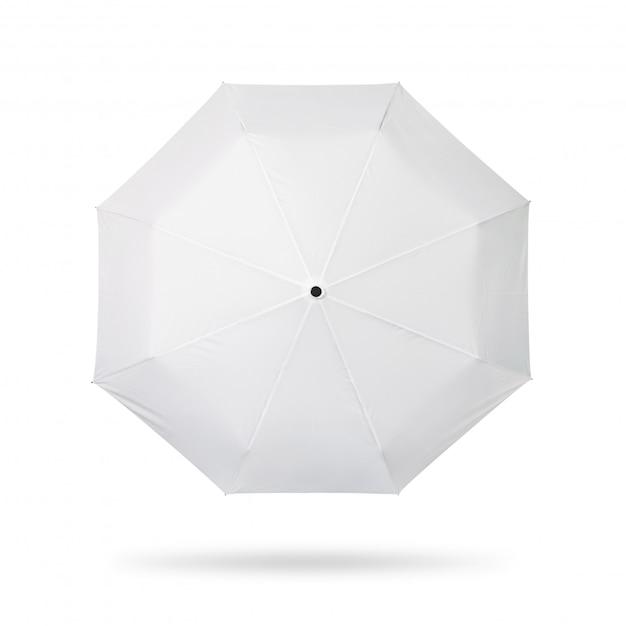 Ombrello bianco isolato su sfondo bianco. Foto Premium