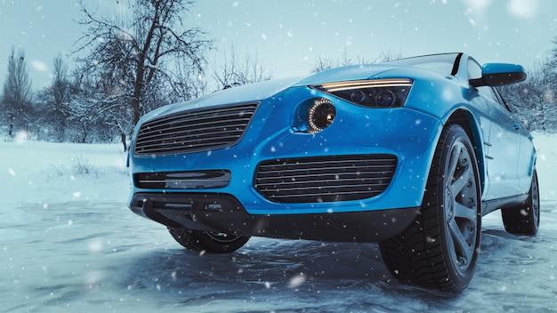 Orario invernale e auto nella neve. Foto Premium