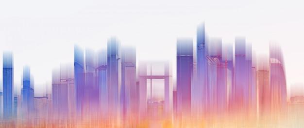 Orizzonte variopinto della città della costruzione Foto Premium