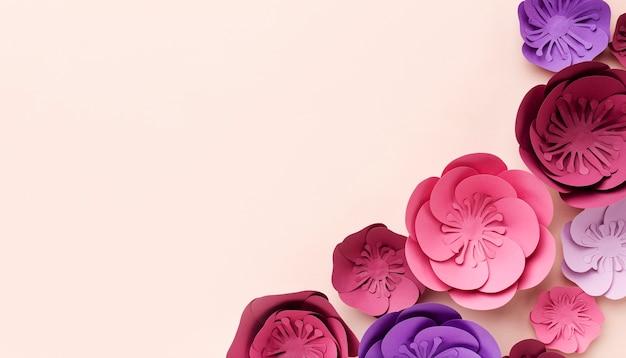 Ornamenti di carta floreale copia-spazio Foto Gratuite