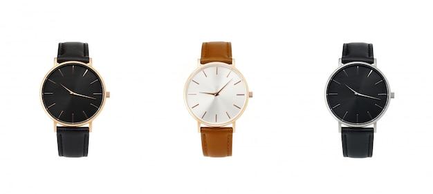 Orologio da donna classico quadrante nero, cinturino in pelle, isolato su sfondo bianco Foto Premium