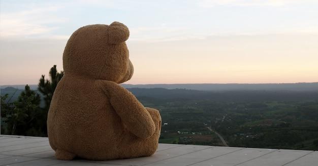 Orsacchiotto seduto da solo su un balcone in legno. sembri triste e solo Foto Premium