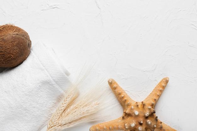 Pacchetto igiene spa con cocco e stelle marine Foto Gratuite