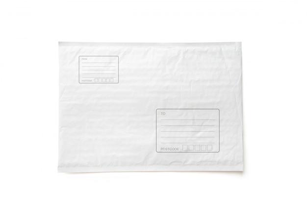 Pacchetto postale bianco con area per l'indirizzo di scrittura. Foto Premium