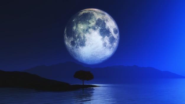 Paesaggio 3d con l'albero contro il cielo illuminato dalla luna Foto Gratuite