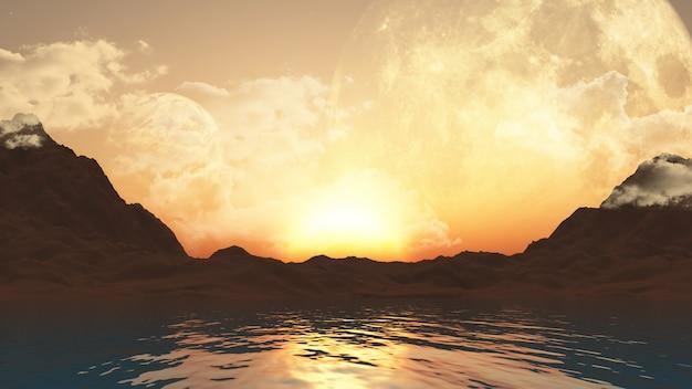 Paesaggio 3d con pianeti e oceano Foto Gratuite