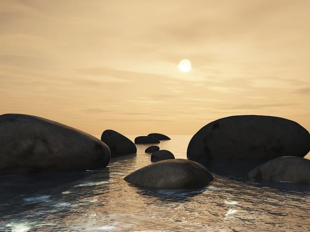 Paesaggio 3d con pietre miliari in un oceano contro un cielo al tramonto Foto Gratuite