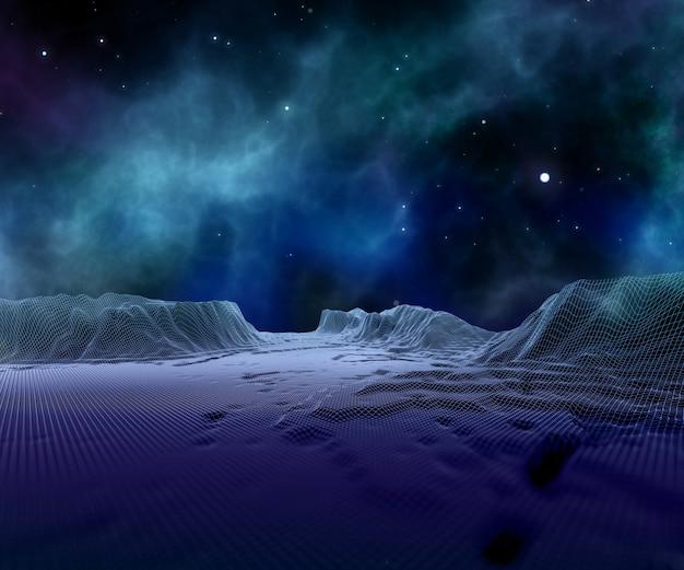 Paesaggio astratto del wireframe 3d contro il cielo dello spazio Foto Gratuite