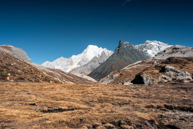 Paesaggio del campo arido dorato con la montagna e il cielo blu del calcare vicino al lago milk Foto Premium