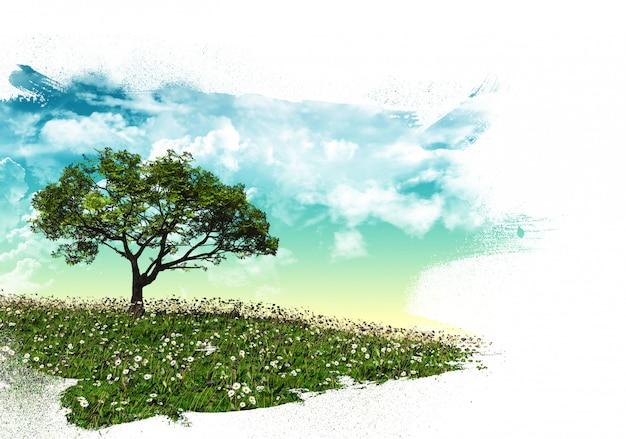 Paesaggio dell'albero 3d con tratti di pennello Foto Gratuite