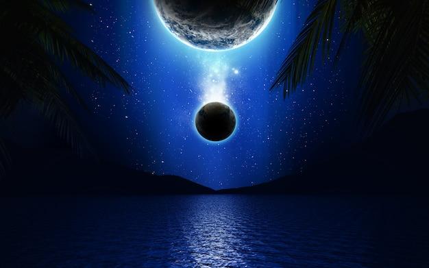 Paesaggio della fantascienza 3d con i pianeti sopra un lago Foto Premium