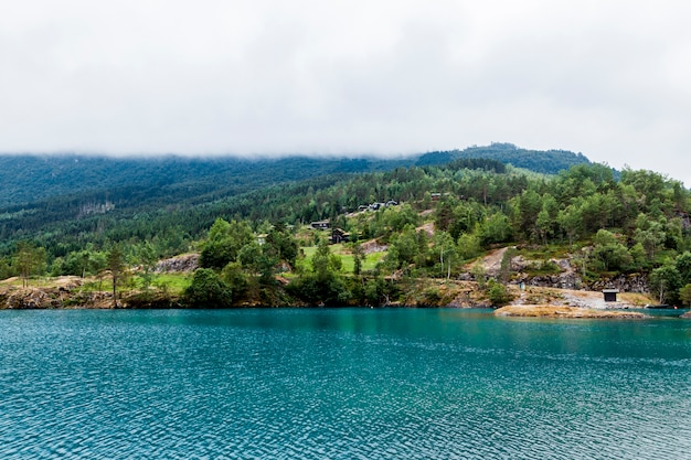 Paesaggio di montagna verde con lago idilliaco blu Foto Gratuite