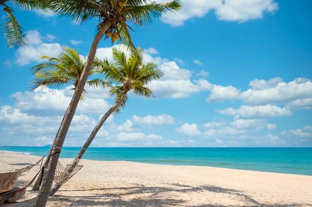 Paesaggio esotico spiaggia tropicale per sfondo o sfondo. tranquilla scena sulla spiaggia per viaggi ispirati, vacanze estive e concetto di vacanza per il turismo rilassante. Foto Premium