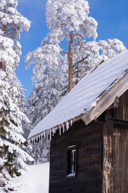 Paesaggio invernale, casa di montagna Foto Premium