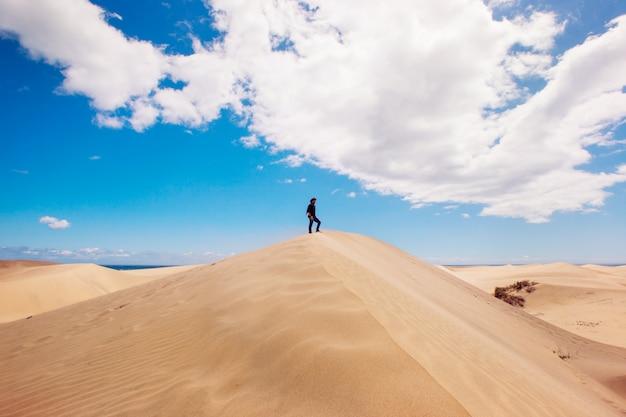 Paesaggio panoramico con l'uomo sulla cima di una duna del deserto. uomo che gode della libertà. Foto Premium