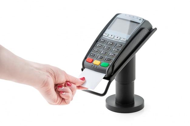 Pagamento con carta di credito tramite il terminale pos Foto Premium