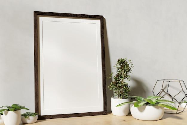 Pagina derisione su con le piante su uno scaffale - rappresentazione 3d Foto Premium